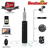 Quastro BT450 Hands-free Wireless Bluetooth Car Aux Kit Audio Music Receiver Adapter with 3.5 mm Jack for Speaker Compatible with All Android and iOS Devices