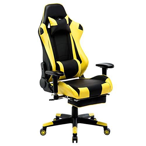 WOLTU Gaming Stuhl Racing Stuhl Bürostuhl Chefsessel Schreibtischstuhl Sportsitz mit Kopfstütze und Lendenkissen, Armlehne verstellbar, mit Fußstütze, Kunstleder, höhenverstellbar, Gelb, BS14gb