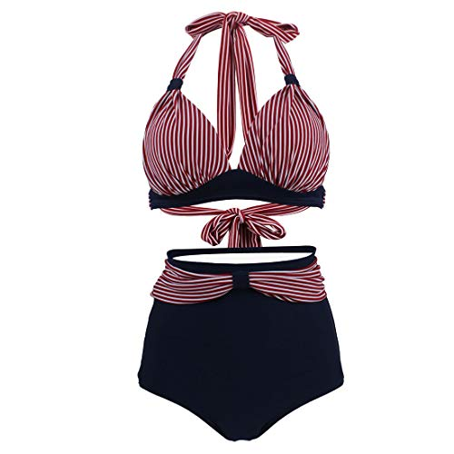 be09b5ef14 GWELL Femme Vintage Biniki Taille Haute Push Up Maillot de Bain Rétro 2  Pièces Dos Nu Rayure Marine 44-46 Tag 3XL