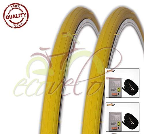 Kit 2 Due COPERTONI + 2 Due CAMERE d'Aria Bici Ciclo Scatto Fisso Giallo 700 X 23 28 X 5/8 X 1/16 (23-622)