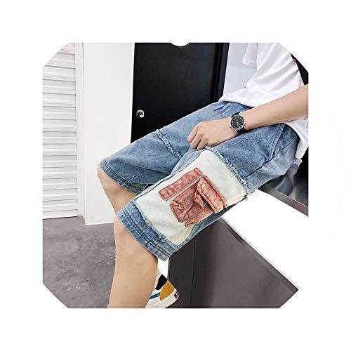 Summer Shorts Men Jeans Shorts Men Cotton Casual Hip Hop Multi Pockets Men's Cotton Denim Shorts Hommes,Blue,S