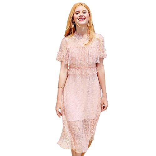 Meng Wei Shop Netzkleid | Sommer Mädchen langer Rock | Süßes Mädchen Kleid | Sand Beach Vacation Sommerkleidung | Pink Blau (Color : Pink, Size : S)