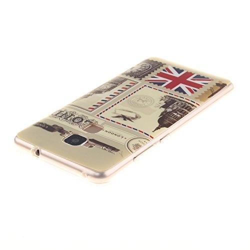 BONROY® Custodia a libro in pelle PU, colorata, con stampa, con chiusura magnetica, scomparti per carte di credito e funzione di supporto enveloppes Londres Huawei Honor 5C