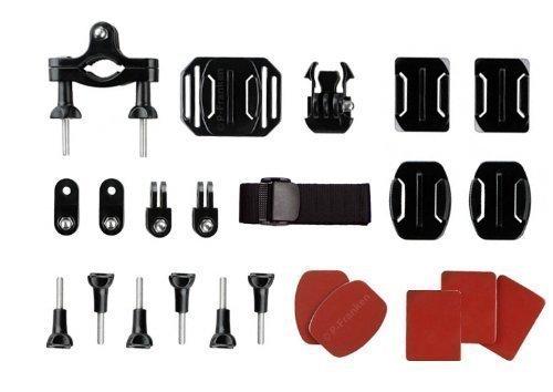 Action Cam Halterung - Kompatibel mit GoPro HERO3 / HERO3+ / HERO4 / HERO4+ / HERO4 Session / HERO5 - Halterungsset für Sportkameras - Montage Set aus 24 Elementen