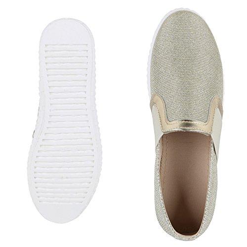 napoli-fashion Dame Sneaker Slip-Ons Glitzer Schuhe Metallic Neon Stoffschuhe Turnschuhe Camouflage Bequeme Freizeitschuhe Flats Jennika Gold