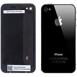 Coque arrière de remplacement vitre iPhone 4 Noir (Livré avec tournevis Torx) (Le motif ou une image sur la couverture arrière est un film protecteur. Celle-ci doit être enlevée avant d'installer)