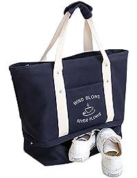 Malirona Grand sac fourre-tout à sac 2-en-1 Sac fourre-tout à la plage avec chaussures Organiseur Canvas Sac de plage