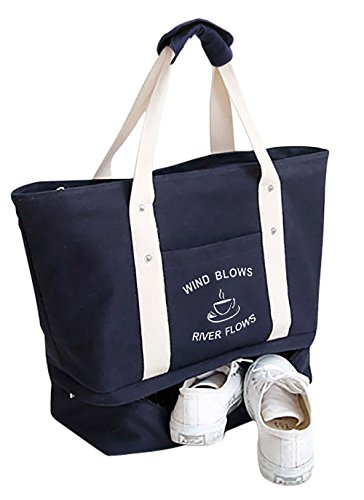 Malirona 2-in-1 travel beach shopping bag with shoe organizer canvas beach bag (Deep Blue)