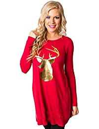 ALISIAM Herbst Winter Weihnachten Schwarzer Freitag Frau Freizeit Mode Lose Drucken Rundhals Lange Ärmel Kleid Rock T-Shirt-Rock T-Shirt