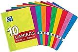 OXFORD Classique Lot de 10 Cahiers Agrafés Grands Formats 24 x 32cm 96 Pages Grands Carreaux Seyès Couleurs Assorties