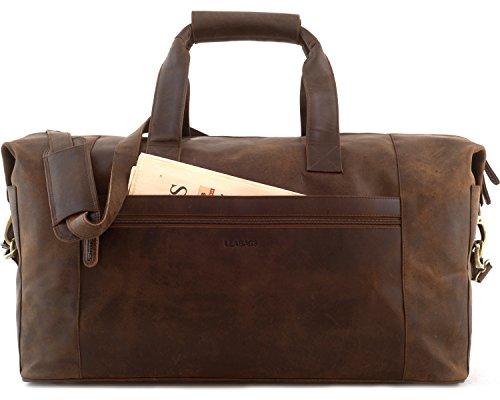LEABAGS Dubai Reisetasche aus echtem Büffel-Leder im Vintage Look - Muskat Muskat
