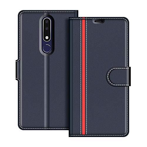 COODIO Custodia in Pelle Nokia 3.1 Plus 2018, Custodia Nokia 3.1 Plus, Custodia Portafoglio Cover Porta Carte Chiusura Magnetica per Nokia 3.1 Plus 2018, Blu Scuro/Rosso
