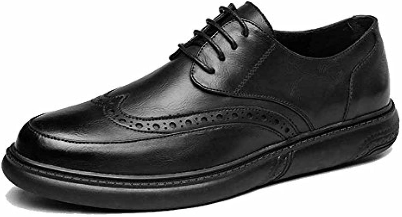 GLSHI Männer Casual Derby Schuhe 2018 New Retro Brogue Geschnitzt Leder Schnürschuhe Fahren