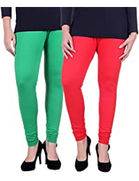 Belmarsh Cotton Blend Churidar Leggings - Pack of 2 (GRN_RED)