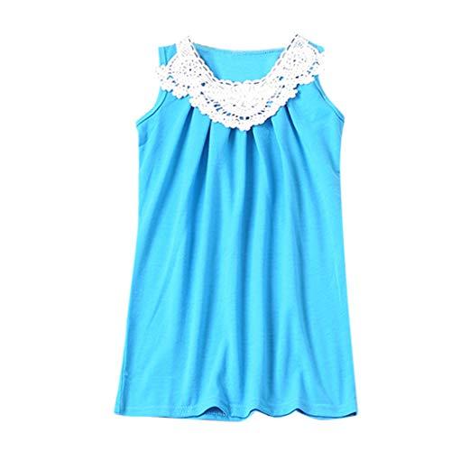 Livoral Mommy & Me Frauen-O-Ansatz Sleeveless Feste Spitze Familie Kleidung Kleid(Hellblau(Mutter),Medium)