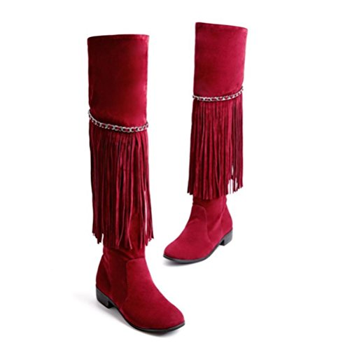 QPYC Ms Flat With Over The Knee Stivali nappa Side Zipper Large Size Scarpe da donna Decorazione catena in metallo red