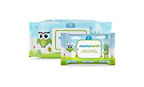 Mamaearth Organic Bamboo Based Baby Wipes, 72 Pieces with Free Wipes Travel Pack, 15 Pieces