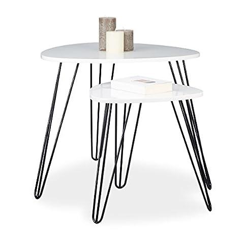 Relaxdays Beistelltisch Weiss 2er Set, Eckig, Dreibeiner, Holz, Metall, HxD: