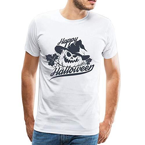 8f9195ba2d WEIYI BO Tees Camicie Bianche in Cotone Casual da Uomo Happy Halloween  Party T-Shirt