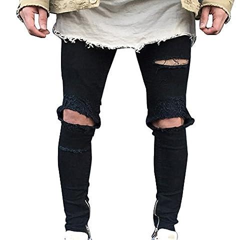 Jeans Biker Hommes Déchiré Aux Genoux Skinny Chevilles Zippées Serré Slim Fit Denim Pantalon Noire 32