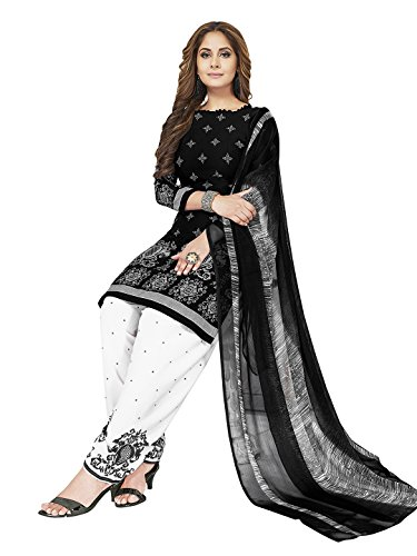 Jevi Prints Women's Unstitched Synthetic Crepe Black & White Block Printed Salwar...