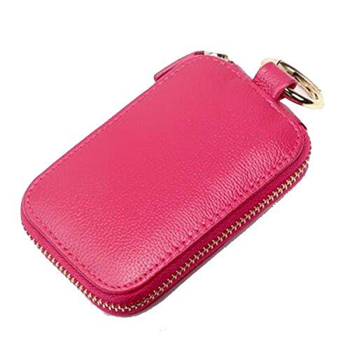 Jia Qing Lady Men Leather Soft Key Ring Étui à Clés Multifonctions à Grande Capacité