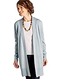 Woolovers Womens Cashmere Merino Wool Long Edge to Edge Open Front Long  Sleeve Fine Knit Knitted Cardigan… f2599a91a