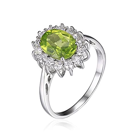 JewelryPalace Princess Diana William Kate 2.2ct Natural Peridot Engagement Halo Ring 925 Sterling Silver Size L