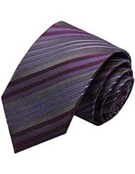 Simple et chic pour homme Business Liens Cravate formelle avec boîte cadeau, Violet/Gris à rayures