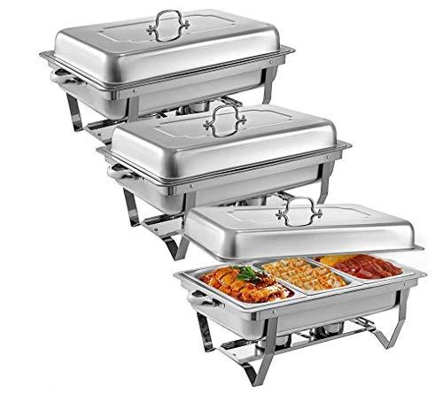 HYLH 3 Stücke Edelstahl Chafing Dishes 3 1 In 3rd Size Pfannen 8 Quart Rechteckige Chafer Komplettset Buffet Tablett Speisenwärmer -