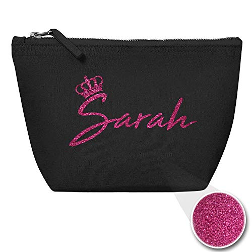 Personalisiert Name Initialen & Königin Krone Kosmetiktasche Damen Schminktasche für Handtasche Makeup Tasche - Glitter oder Flocke Material Druck - Rosa Glitzer -