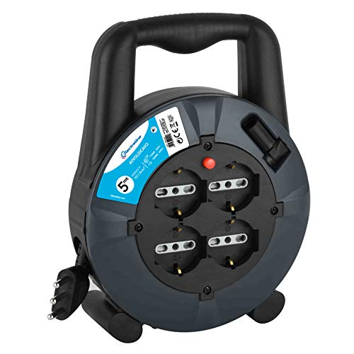 Electraline 49025 prolunga elettrica con avvolgicavo 5 mt, 4 prese polivalenti (schuko + 10/16a), spina 16a, sezione cavo 3g1,5 mm²