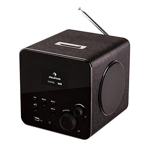 Auna Radio Gaga Digitales Design Wlan-Radio Internetradio Radiowecker für Wlan-Heimnetzwerk (DAB/DAB+, UKW-Tuner, USB, AUX, Fernbedienung, 2-Alarme, Snooze, Sleeptimer, RDS) schwarz