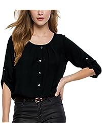 ISSHE Blusa Gasa Cordón Blusas Manga Larga Para Dama Camisas de Mujer Blusones Camisetas Largas Juveniles