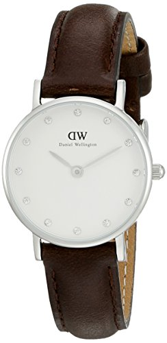 Daniel Wellington- Classic Bristol-Women's Quartz Watch with White Dial Analogue Display and Brown Leather Strap 0923DW