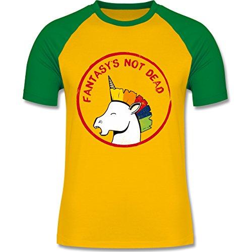 Comic Shirts - Fantasy's not dead Punk Einhorn - zweifarbiges Baseballshirt für Männer Gelb/Grün