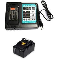 18 V 3,0 Ah Batterie avec 1.5A Chargeur Replacement pour radio de chantier Makita DMR100 DMR108 DMR107 DMR106 DMR106B DMR102 DMR104 DMR110 DMR101 DMR103B BMR102 BMR100 BMR104 Rechange Battery