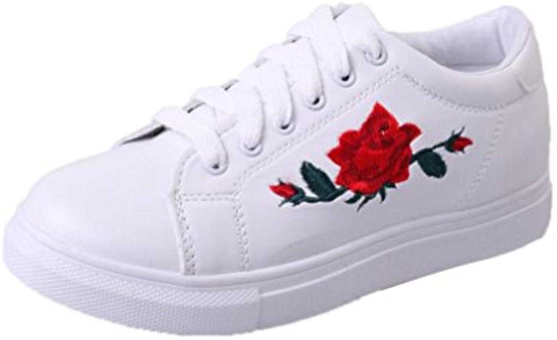 Culater Zapatillas de deporte de las mujer de la moda Zapatos de las flores del bordado