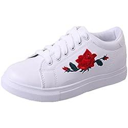 Culater Zapatillas de deporte de las mujer de la moda Zapatos de las flores del bordado (EU:35 / CN:36, Blanco)