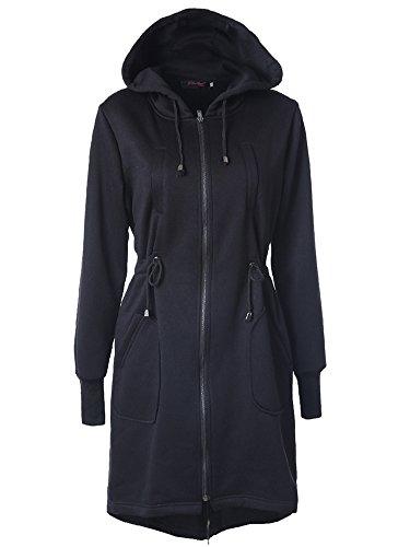 Damen Long Hoodie Kapuzen Parka Zipper Jacke Cardigan Mantel Outwear Schwarz XL