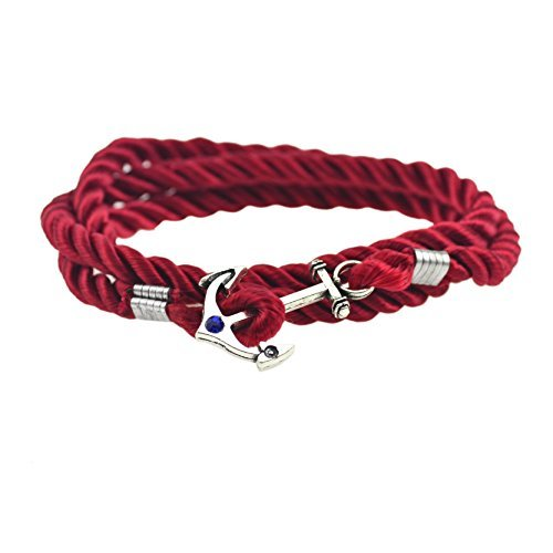 Jiayiqi Women Men Cool Punk Nautical Anchor Bracelet Multicolor Rope Bracelet red