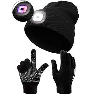 8 LED Unisex Mütze Kappe und Screen Touch Handschuh, Alarm Mode Leuchtender Hut, Anti Rutsch Silikon Gel Handschuh, USB Wiederaufladbar