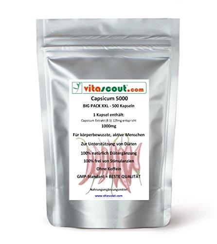 500 Kapseln Capsicum 5000 Diät Chili Fatburner Bauch Beine Po abnehmen - Thermogenese