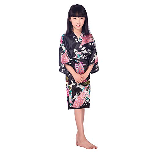 Yying Girls' Satin Kimono Robe Peacock and Blossoms Bathrobes Dressing Gown for SPA Wedding Birthday