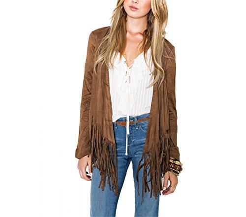 Hippolo Damen Kurz Blazer Bluse Jacken Elegant Cardigan Tunika Shirt mit Quaste (M, khaki) (Wildleder-blazer Faux)