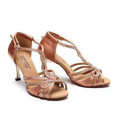 XIAMUO Nicht anpassbar - Die Frauen tanzen Schuhe Satin Satin Latin Heels Cuban Heel Praxis/Anfänger/Professional/Innen-/PerformanceBlack/ Schwarz