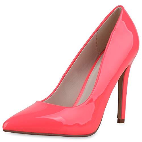 SCARPE VITA Damen Spitze Pumps Stiletto Party Schuhe High Heels Lack Absatzschuhe Elegante Abendschuhe 182896 Neon Pink Lack 38 Pink Stiletto