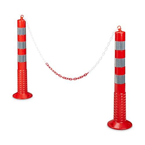 Relaxdays Absperrpfosten flexibel 2 Kettenpfosten in HBT: ca. 75 x 22 x 22 cm reflektierend mit praktischer Absperrkette als Sperrpfosten mit stabilem Standfuß zum Befestigen mit Schrauben, rot-grau
