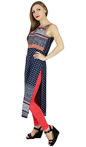 Bimba Frauen schicken Stil gedruckt kurta kurti trendy Sommer Tunika blaue Bluse Blau