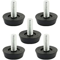 Sourcingmap M6x15mm Thread Table Desk Screw On Levelling Foot Feet 22mm Base 5pcs